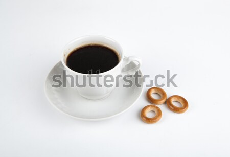 cup of black coffee with bagels Stock photo © mizar_21984