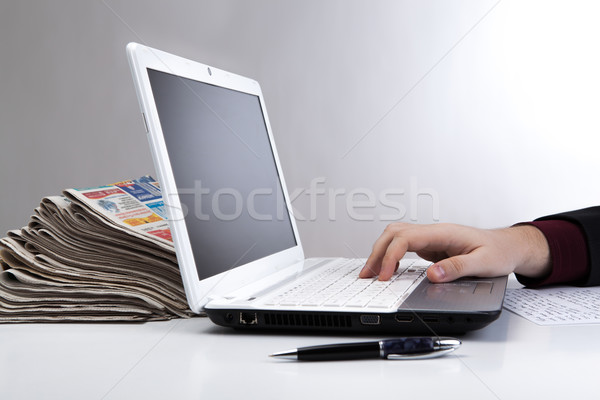 human hand on the notebook keyboard 6 Stock photo © mizar_21984