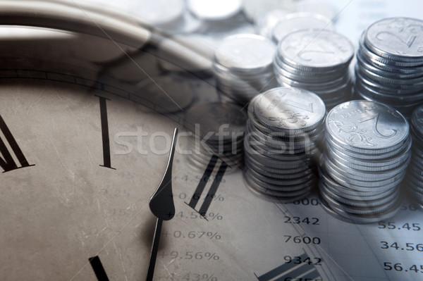 Köteg érmék számjegyek számlap közelkép idő Stock fotó © mizar_21984