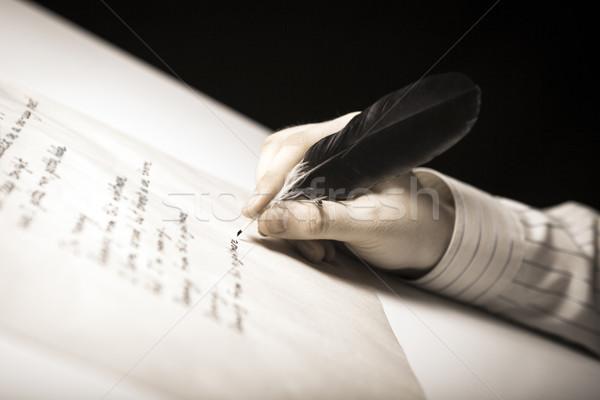 Escritor caneta-tinteiro papel trabalhar negócio Foto stock © mizar_21984