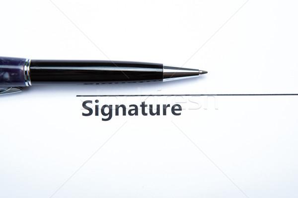 Pen firma lavoro Palm segni bianco Foto d'archivio © mizar_21984