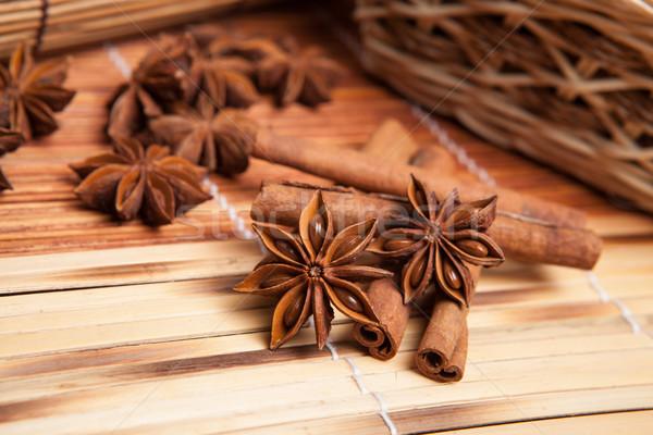 Canela estrela anis bambu guardanapo Foto stock © mizar_21984