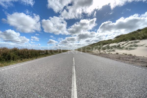 Stock fotó: Végtelen · út · égbolt · felhők · természet · tájkép