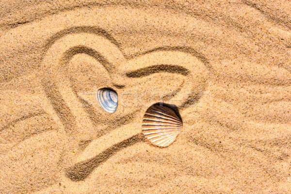 Foto stock: Corazón · arena · conchas · amor · sol · mar