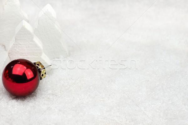 Navidad decoraciones nieve rojo pelota fondo Foto stock © mobi68
