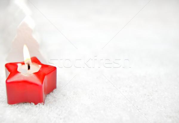 Rojo vela nieve abeto árboles fondo Foto stock © mobi68
