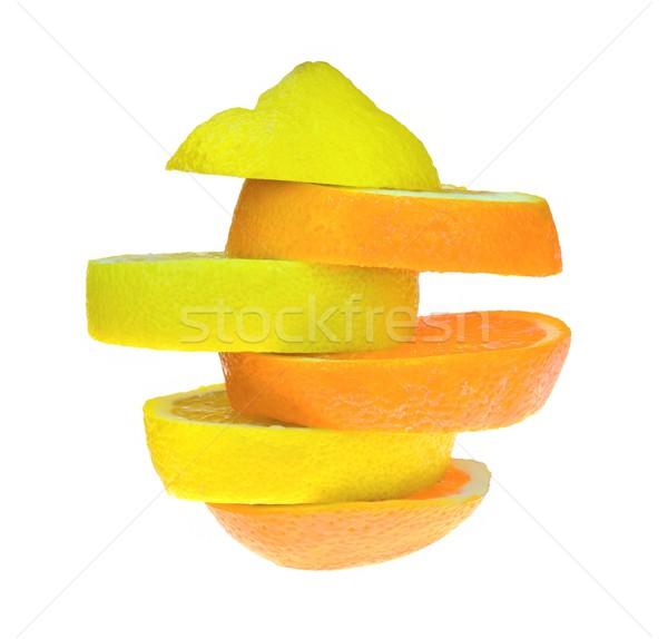 лимона оранжевый Ломтики продовольствие фрукты пить Сток-фото © mobi68