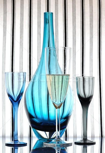 Champán vidrio licor gafas azul botella Foto stock © mobi68