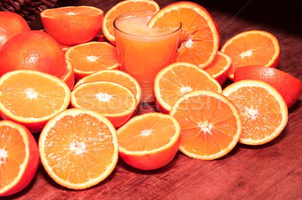 Foto stock: Frescos · naranjas · vidrio · verano · rojo