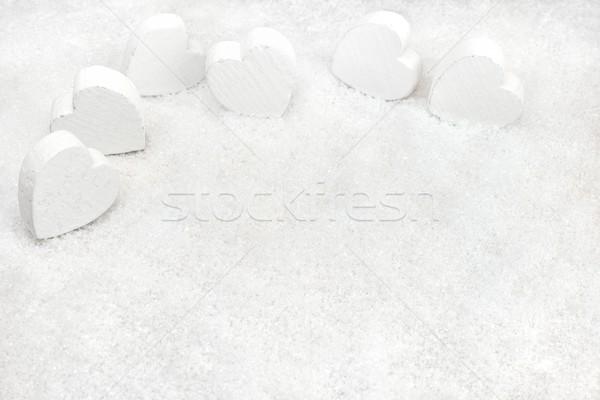 Corazones nieve invierno decoración madera luz Foto stock © mobi68