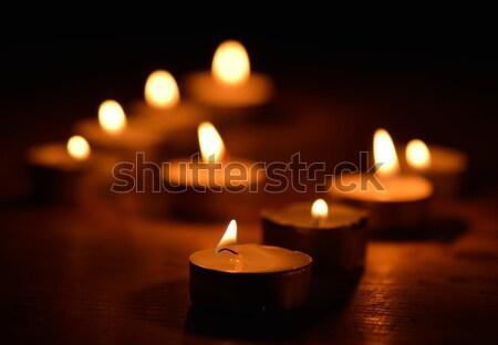 Przy świecach Świeca świece płomień christmas wakacje Zdjęcia stock © mobi68
