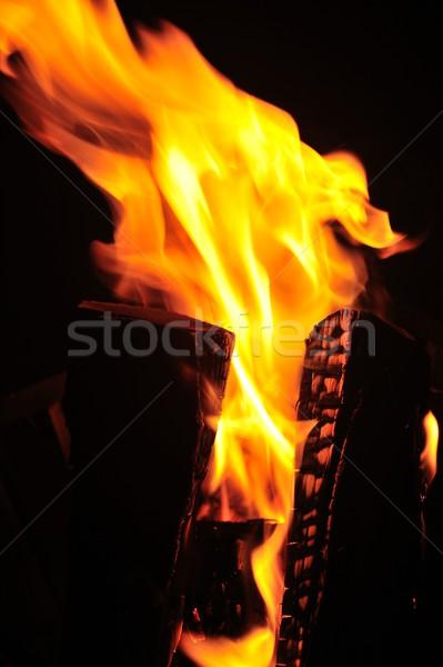 Fuego hoguera madera rojo negro Foto stock © mobi68