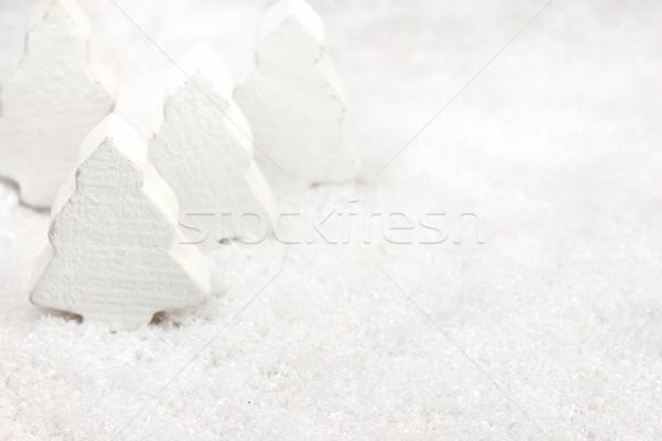 Navidad árboles nieve blanco árbol de navidad fondo Foto stock © mobi68
