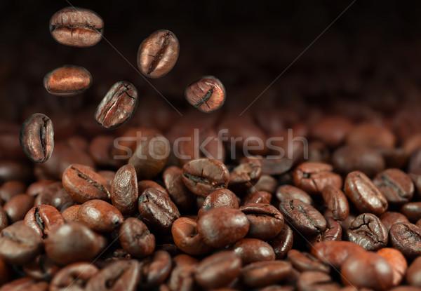 Caer granos de café espacio de la copia fondo frescos marrón Foto stock © mobi68