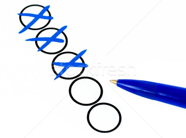 Comprobar azul pluma negocios papel cruz Foto stock © mobi68