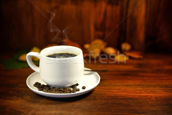 Café taza Servicio negro potable cuchara Foto stock © mobi68