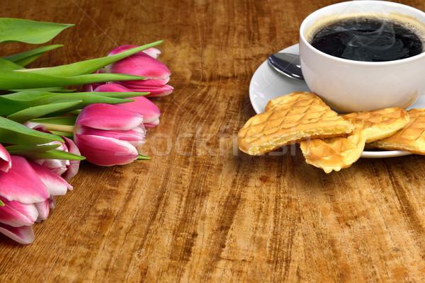 Café tiempo frescos tulipanes taza caliente Foto stock © mobi68