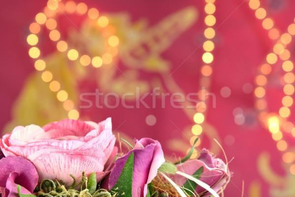 Rosa luces flor fiesta aumentó fondo Foto stock © mobi68
