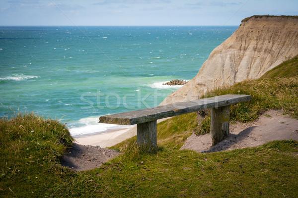 Océano vista solitario banco costa verde Foto stock © mobi68