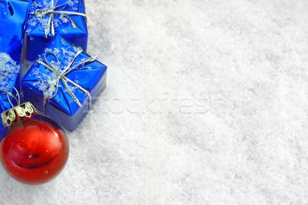 Navidad regalos nieve azul rojo pelota Foto stock © mobi68