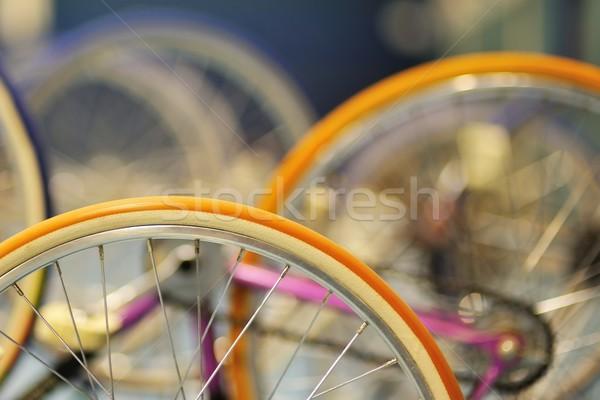 художественный Велоспорт велосипедах велосипедов синий черный Сток-фото © mobi68