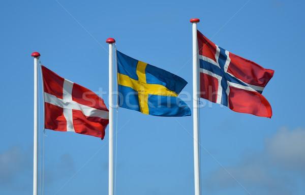 флагами синий флаг волна ветер Дания Сток-фото © mobi68