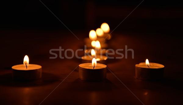 Luz de una vela vela velas llama Navidad vacaciones Foto stock © mobi68