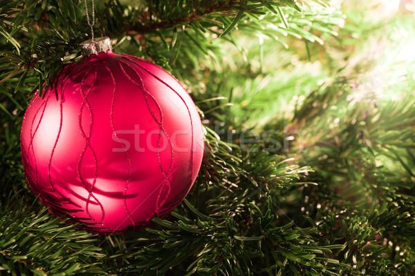 Navidad pelota rojo árbol de navidad luz de una vela luz Foto stock © mobi68