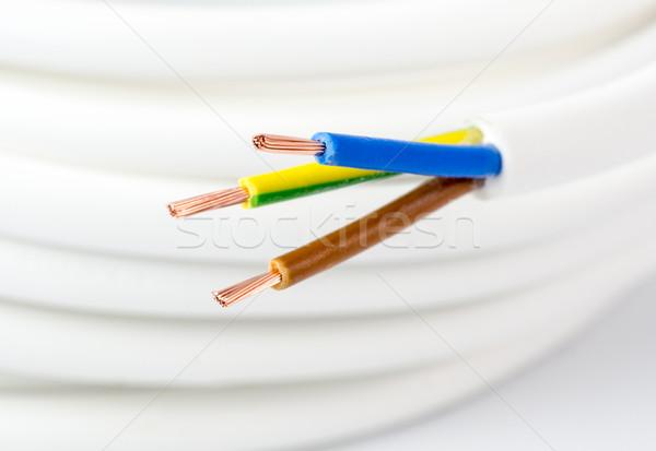 Poder cordão branco arame cabos amarelo Foto stock © mobi68