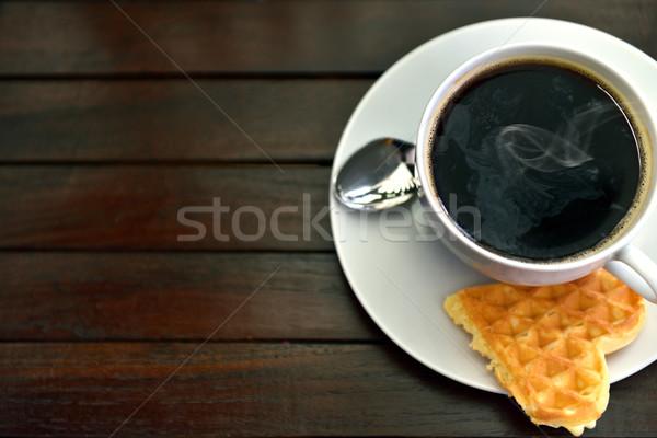 Café gofre taza frescos corazón beber Foto stock © mobi68