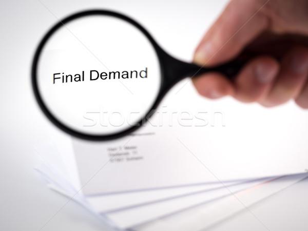 Finale Nachfrage decken Schreiben Worte Briefkopf Stock foto © mobi68