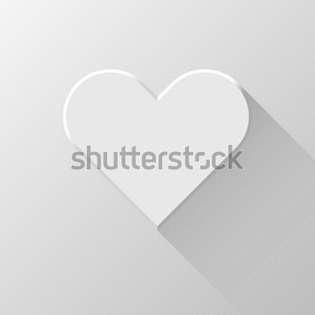 Fehér absztrakt szív felirat valentin nap gomb Stock fotó © molaruso