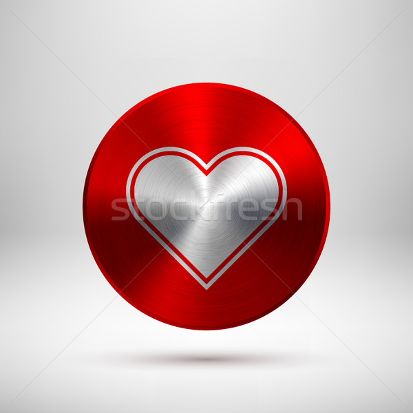Red Abstract Heart Sign on Metal Texture Stock photo © molaruso