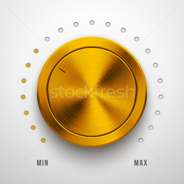 Gold Metall Technologie Volumen Knopf Audio Stock foto © molaruso