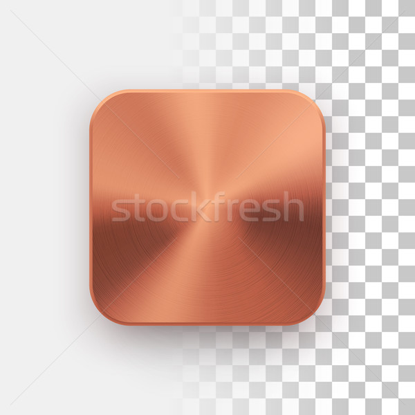 Bronze App Icon Template with Metal Texture Stock photo © molaruso
