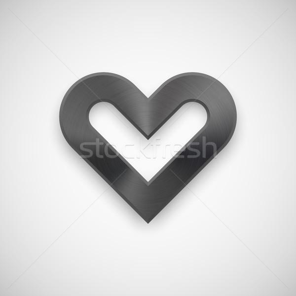 Negro corazón signo textura de metal resumen Foto stock © molaruso