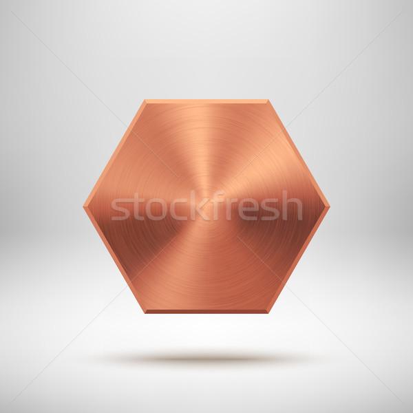 Bronz absztrakt poligon gomb sablon kitűző Stock fotó © molaruso