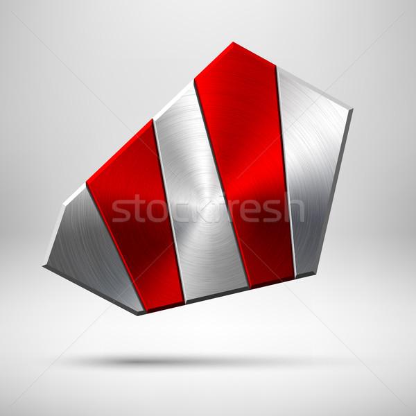 ストックフォト: 赤 · 抽象的な · 幾何学的な · ボタン · テンプレート · バッジ