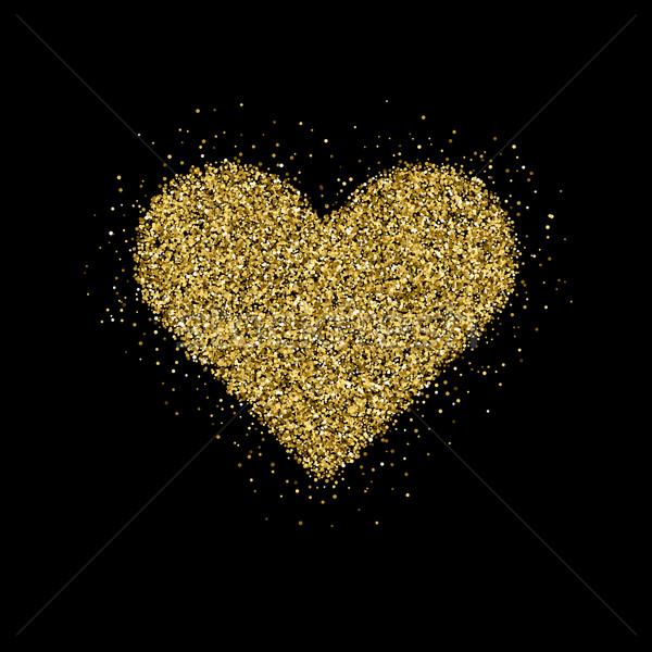 Or glitter arbre de noël saint valentin coeur signe Photo stock © molaruso