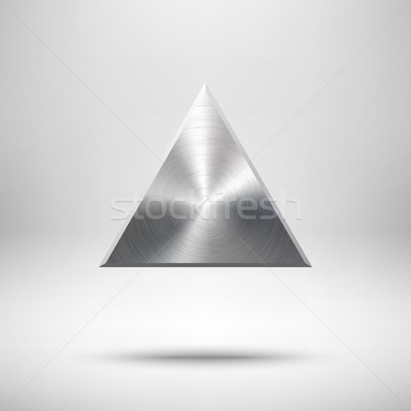 аннотация треугольник кнопки шаблон Знак металлической текстуры Сток-фото © molaruso
