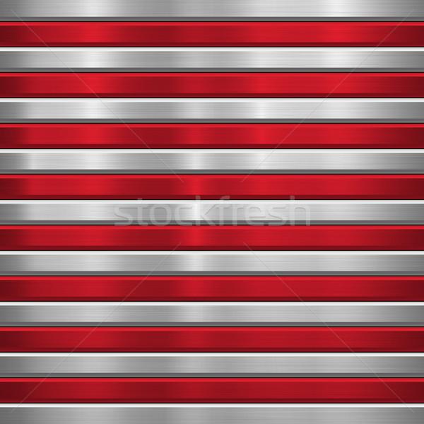 Fém technológia piros vízszintes csíkok csiszolt Stock fotó © molaruso