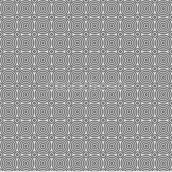 Foto stock: Branco · abstrato · círculos · sem · costura · preto · padrão