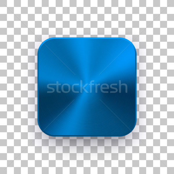 Blue App Icon Template with Metal Texture Stock photo © molaruso