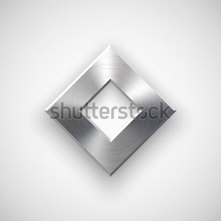 Abstract veelhoek knop sjabloon badge metaal textuur Stockfoto © molaruso