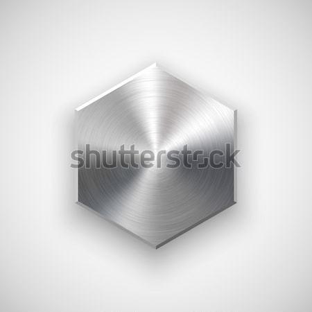 ストックフォト: 抽象的な · ポリゴン · ボタン · テンプレート · バッジ · 金属の質感