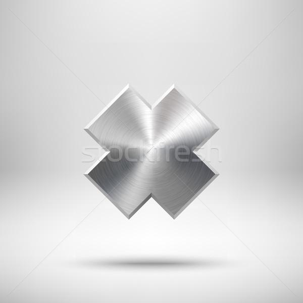 Abstrato atravessar botão modelo distintivo textura do metal Foto stock © molaruso