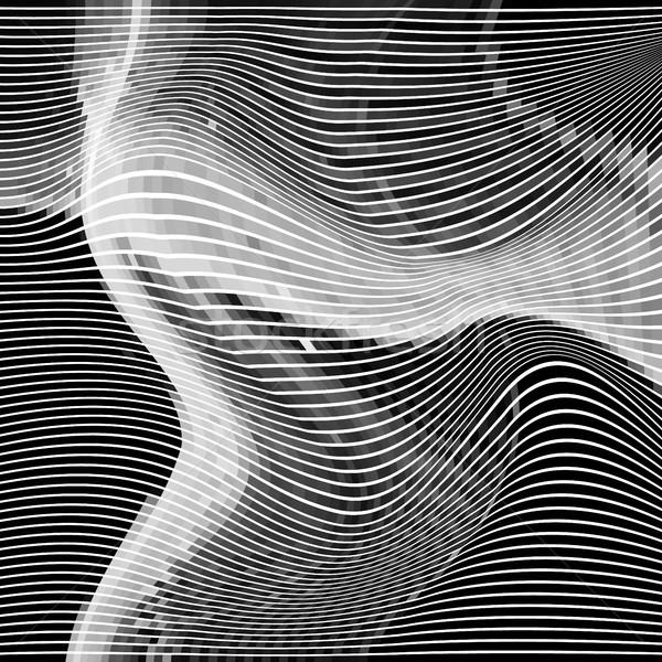 Absztrakt hatás véletlenszerű hullám feketefehér monokróm Stock fotó © molaruso