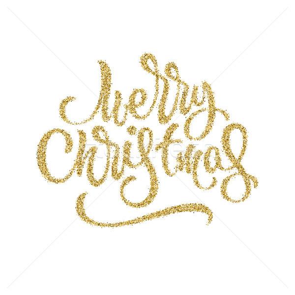 Alegre Navidad placa navidad oro brillo Foto stock © molaruso