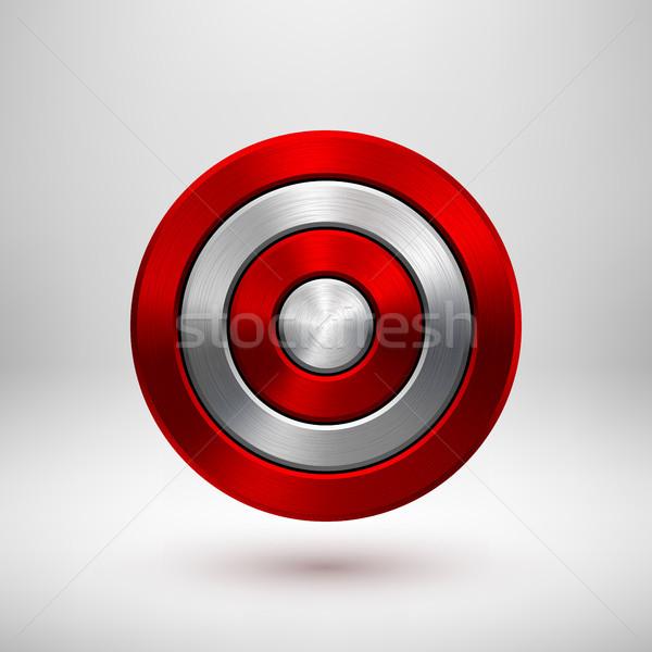 Red Technology Circle Metal Badge Stock photo © molaruso