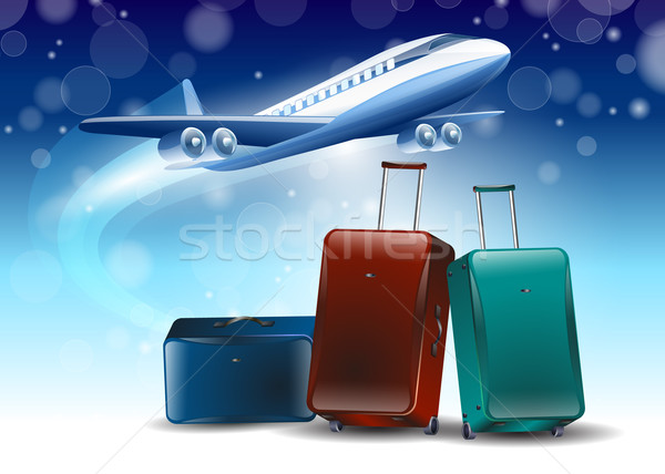 blue background around the fly tourism travel Stock photo © mOleks